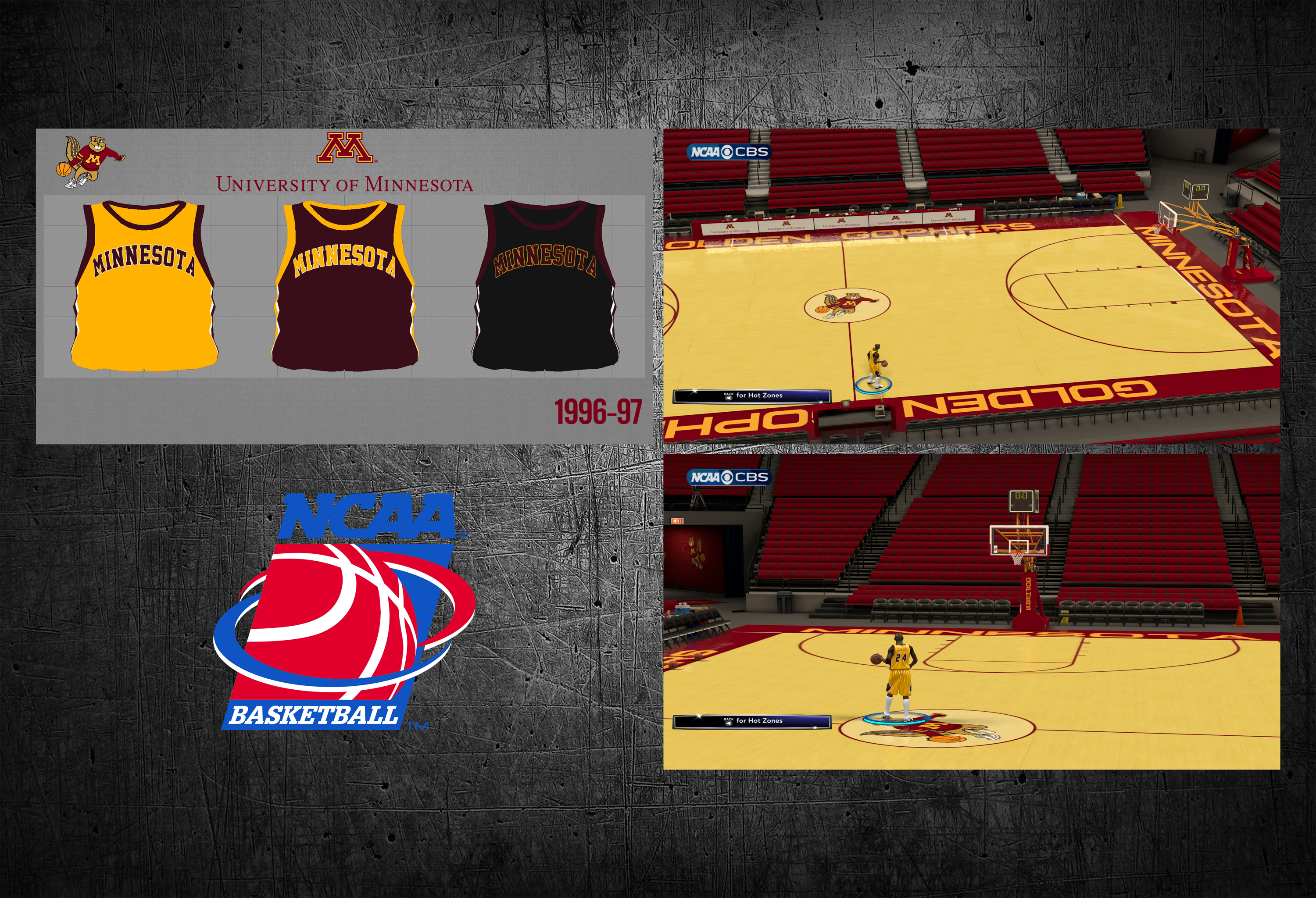 1996-97 Minnesota Golden Gophers Jersey & Court