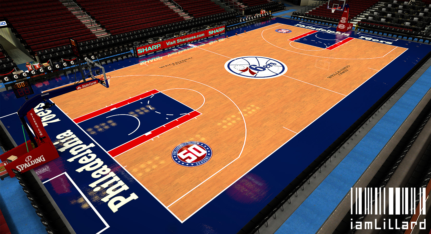 Philadelphia 76ers 50th Anniversary Court