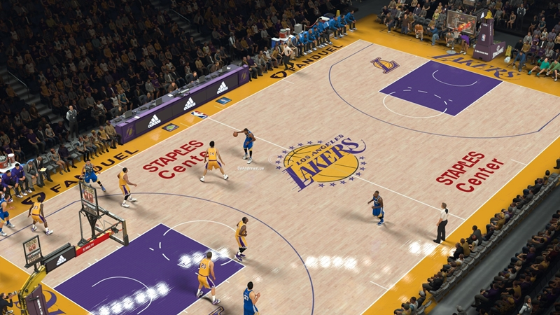 Los Angeles Lakers Court With FanDuel Ads