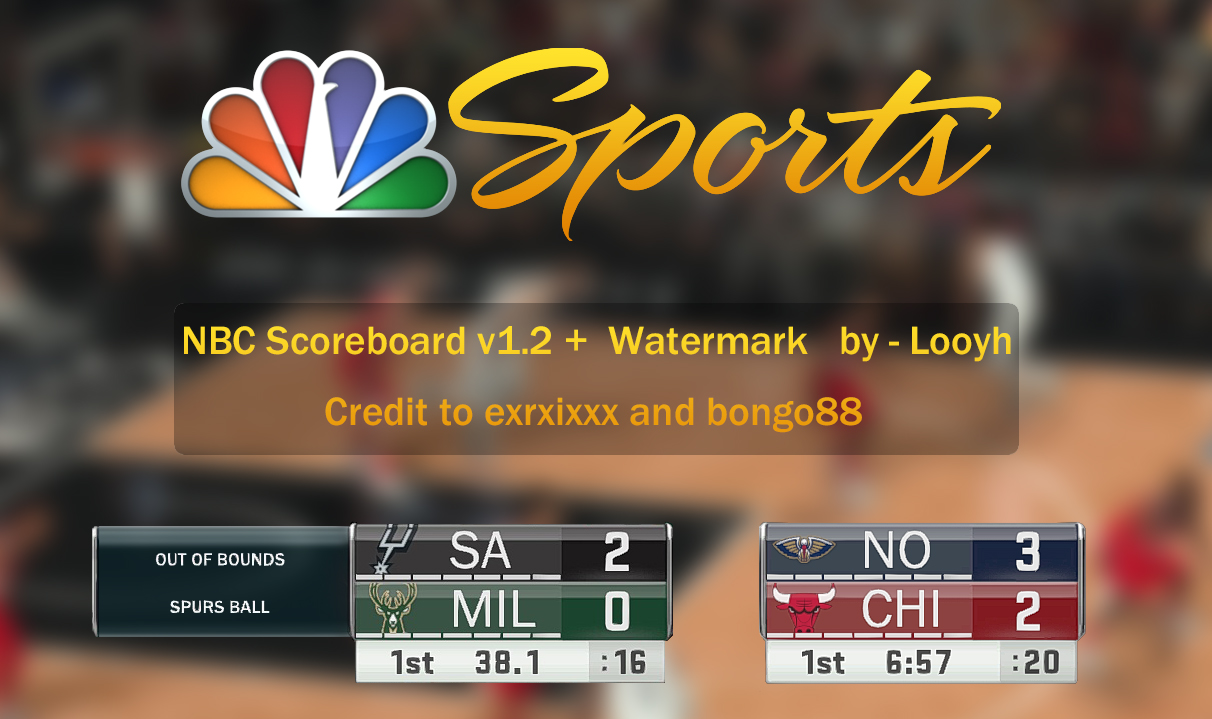 NBC Sports Scoreboard & NBC Watermark (Opaque)